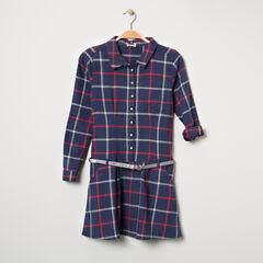 Παιδικά - Μακρυμάνικο φόρεμα καρό με ζώνη με παγιέτες