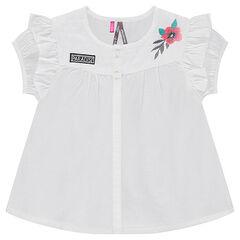 Βαμβακερό κοντομάνικο πουκάμισο με κεντημένο λουλούδι και βολάν e8ee5eec948