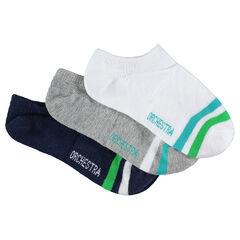 Σετ 3 ζευγάρια κοντές κάλτσες με λωρίδες σε αντίθεση