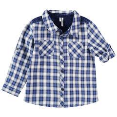 Καρό πουκάμισο με τσέπες και φάσα με όψη ντένιμ
