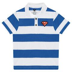 Κοντομάνικο πόλο με λωρίδες σε αντίθεση και απλικέ λογότυπο Superman της ©Warner