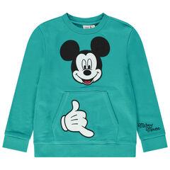 Φούτερ από φανέλα με τσέπη καγκουρό και κέντημα Μίκυ της Disney