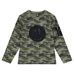 Παιδικά - Μακρυμάνικη μπλούζα με μοτίβο καμουφλάζ και τσέπη