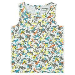 Αμάνικο μπλουζάκι από ζέρσεϊ slub ύφασμα με διάσπαρτα σχέδια