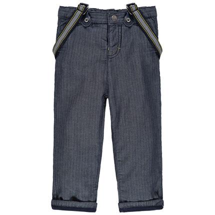 Υφασμάτινο παντελόνι με φαντεζί ύφανση και αφαιρούμενες ελαστικές τιράντες