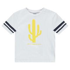 Κοντομάνικη μπλούζα με λωρίδες και τυπωμένους κάκτους