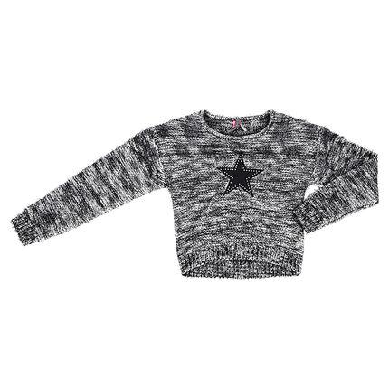 Παιδικά - Πλεκτό πουλόβερ σε μελανζέ πλέξη με απλικέ αστέρι