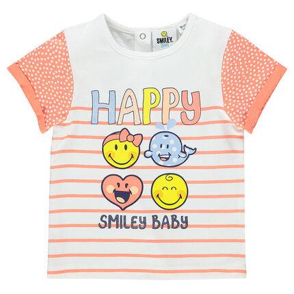 Tee-shirt manches courtes imprimé et printé Smiley