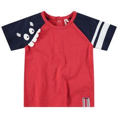 Κοντομάνικη δίχρωμη μπλούζα με τυπωμένο τερατάκι και ανάγλυφα δόντια
