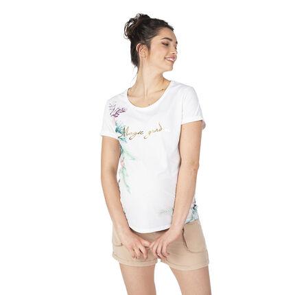Κοντομάνικη μπλούζα εγκυμοσύνης με λουλουδάτη στάμπα