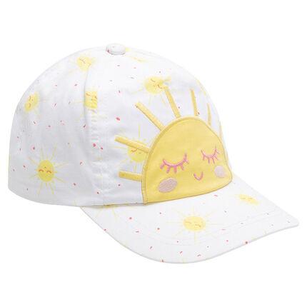 Βαμβακερό καπέλο με εμπριμέ μοτίβο σε όλη την επιφάνεια και κεντημένο ήλιο