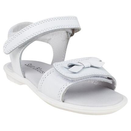 Nu-pieds blancs en cuir à double scratch et noeud du 24 au 27