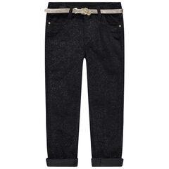 Βελούδινο παντελόνι με παγιέτες και χρυσαφί ζώνη