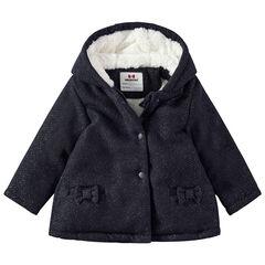 Παλτό με κουκούλα, με επένδυση sherpa και μικρούς φιόγκους