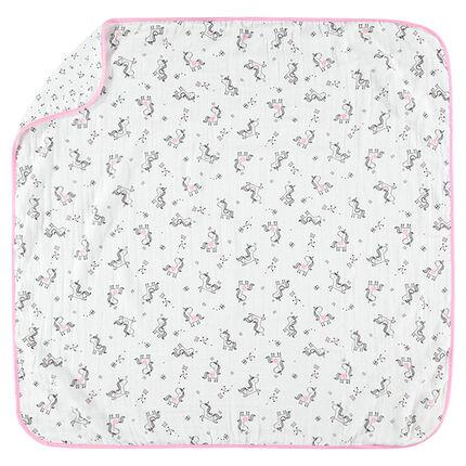 Κουβερτάκι τετράγωνης ύφανσης με μονόκερους και αστεράκια