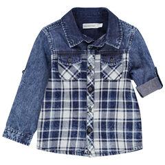 Μακρυμάνικο πουκάμισο τζιν με καρό μοτίβο