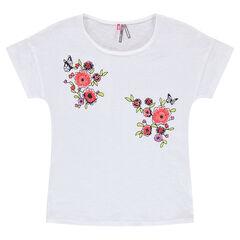 Κοντομάνικη μπλούζα με κεντημένα λουλούδια