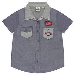 Κοντομάνικο πουκάμισο με τσέπη και σήματα ©Smiley