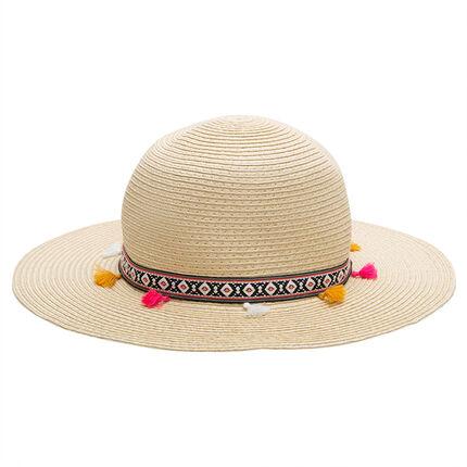 Ψάθινο καπέλο με τρέσα από φουντίτσες