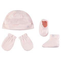 Ζέρσεϊ σύνολο με μονόχρωμο σκούφο, γάντια και βρεφικά παπουτσάκια αγκαλιάς