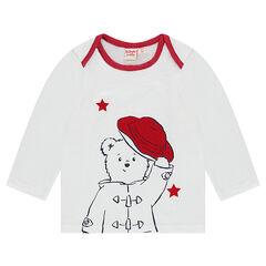 Μακρυμάνικη μπλούζα με λαιμόκοψη αμερικέν και στάμπα ©Paddington