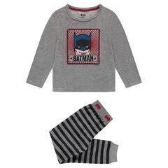 Βελουτέ πιτζάμα με στάμπα BATMAN της ©Warner στην μπλούζα και ριγέ παντελόνι