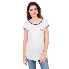 Κοντομάνικη μπλούζα με τσέπη και κεντημένη φράση