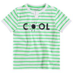 Κοντομάνικη μπλούζα με ρίγες σε αντίθεση