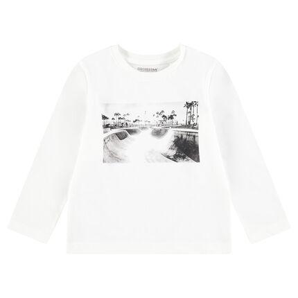 Μακρυμάνικη ζέρσεϊ μπλούζα με τυπωμένο μήνυμα και διακοσμητικά αυτοκόλλητα σκέιτερ