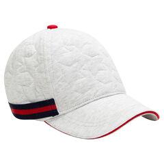 Φανελένιο καπέλο με ανάγλυφα αστεράκια και λωρίδα σε αντίθεση