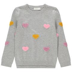 Μονόχρωμο πλεκτό πουλόβερ με φαντεζί μοτίβο