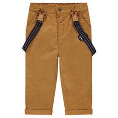 Βαμβακερό παντελόνι με ζέρσεϊ επένδυση και αφαιρούμενες τιράντες