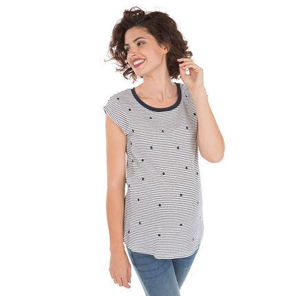 Κοντομάνικη μπλούζα εγκυμοσύνης με πουά μοτίβο και ρίγες