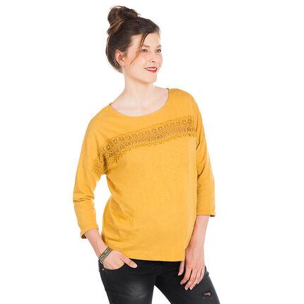 Tee-shirt manches longues de grossesse avec empiècement dentelle