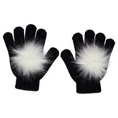 Πλεκτά γάντια με φουντίτσες από συνθετική γούνα