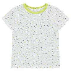 Κοντομάνικη μπλούζα από ζέρσεϊ με εμπριμέ γεωμετρικό μοτίβο