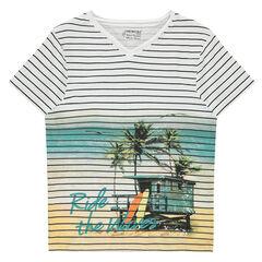 Παιδικά - Κοντομάνικη ριγέ μπλούζα από ζέρσεϊ με τυπωμένο τοπίο σε όλη την επιφάνεια μπροστά