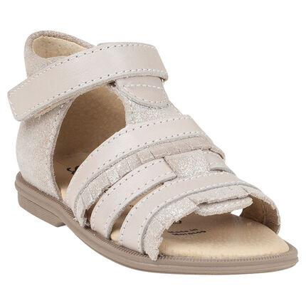 Nu-pieds en cuir coloris beige pailleté avec franges fantaisie