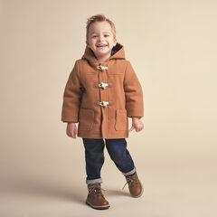 Manteau style duffle coat à capuche et poches