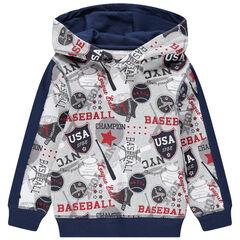 Φούτερ από φανέλα με κουκούλα και εμπριμέ μοτίβο μπέιζμπολ