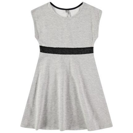 Κοντομάνικο φόρεμα με λωρίδα από μαύρες πούλιες