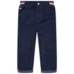 Βελουτέ παντελόνι με επένδυση ζέρσεϊ και λάστιχο στη μέση