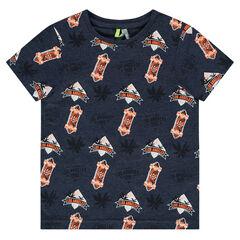 Κοντομάνικη μπλούζα από ζέρσεϊ με εμπριμέ μοτίβο