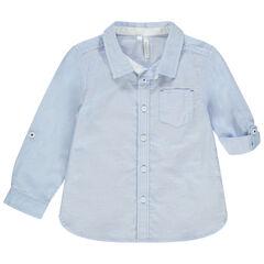 Μακρυμάνικο μπλε πουκάμισο με τσέπη στο στήθος
