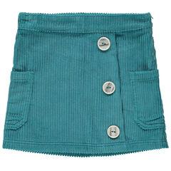 Κοντή φούστα βελουτέ κοτλέ και κουμπιά με διακοσμητικό σχέδιο