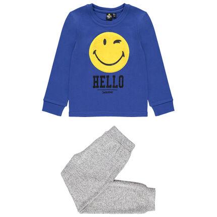 Πιτζάμα ζέρσεϊ με μοτίβο Smiley από sherpa