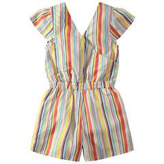 Παιδικά - Κοντή ολόσωμη φόρμα με κάθετες ρίγες σε αντίθεση