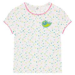 Κοντομάνικη μπλούζα από ζέρσεϊ με εμπριμέ μοτίβο και κέντημα