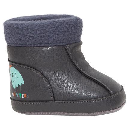 Μπότες ημίψηλες με τελείωμα ψεύτικη γούνα
