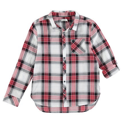Παιδικά - Μακρυμάνικο πουκάμισο με μεγάλα καρό σε αντίθεση και τσέπη